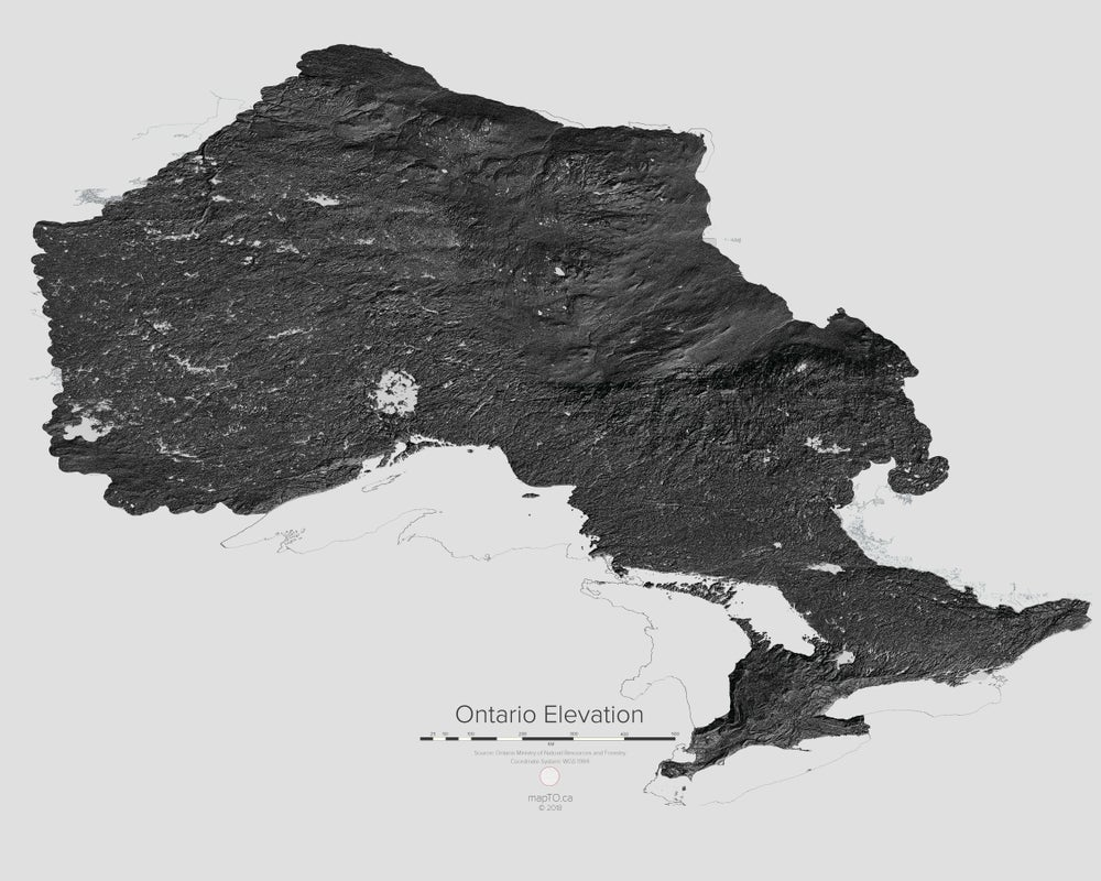 Image of Ontario Elevation Map