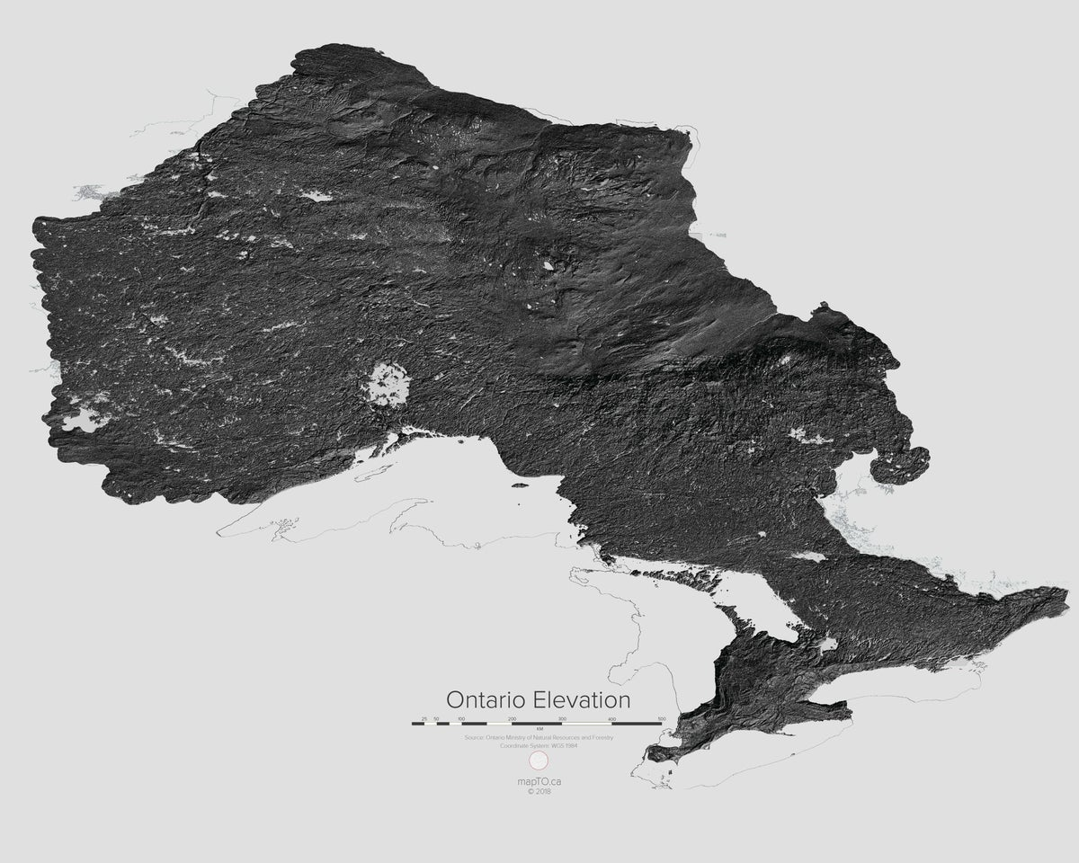 Ont Elevation Images : Ontario elevation map mapto