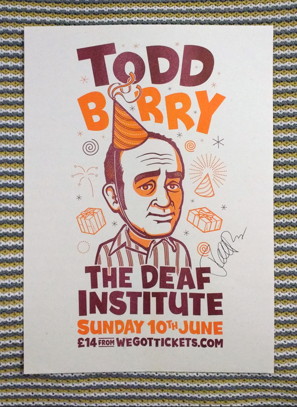 Image of Todd Barry at The Deaf Institute - A3 print (autographed)