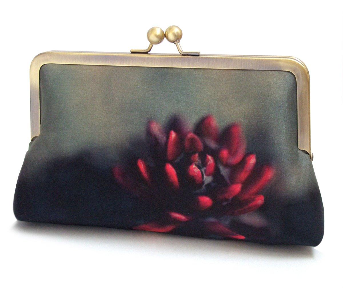 Image of Red flower clutch bag, silk purse, petals purse