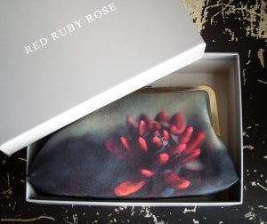 Image of Red flower silk clutch bag