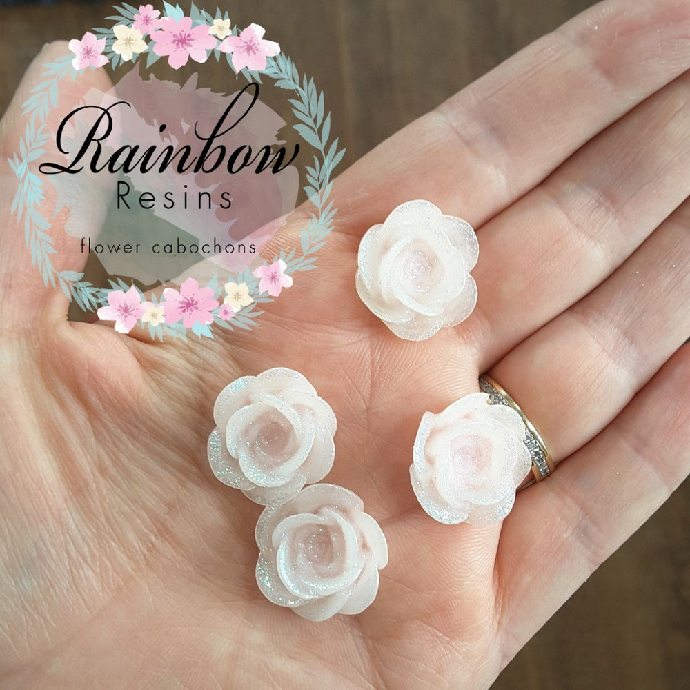 Image of Pale pink sparkly roses x 10