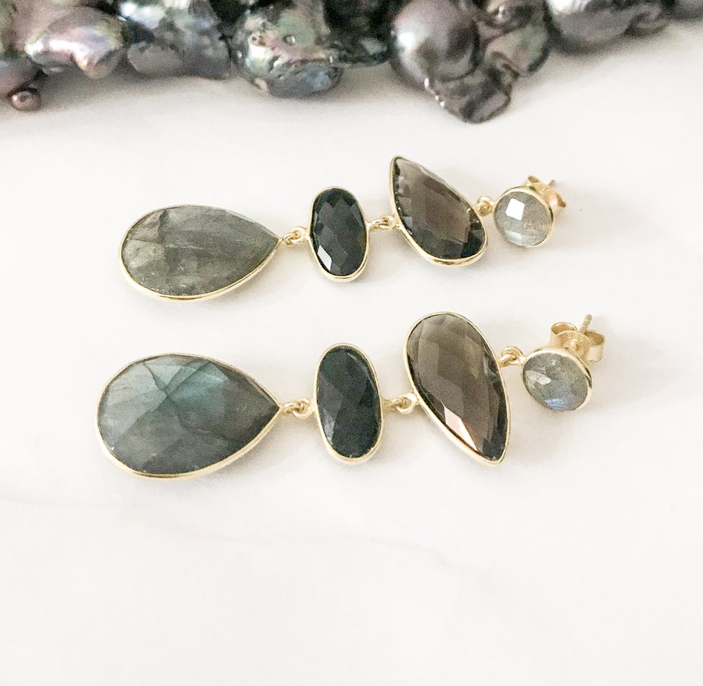 Image of Labradorite, Smoky Quartz and Onyx Statement Earrings