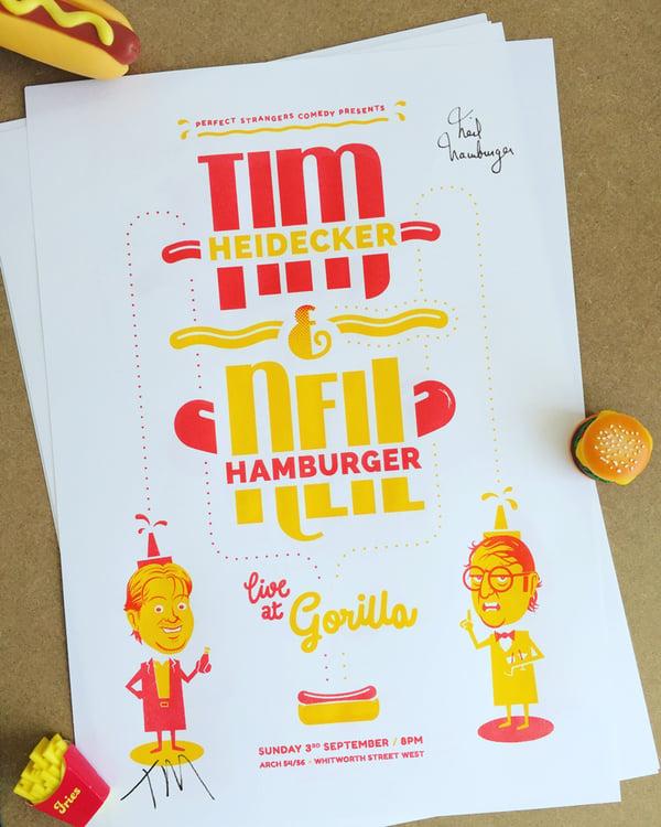 Image of Tim Heidecker & Neil Hamburger gig poster (autographed)