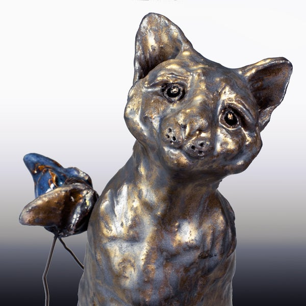 Image of Ceramic Cat Sculpture - Mo Bit and Bingo Bird