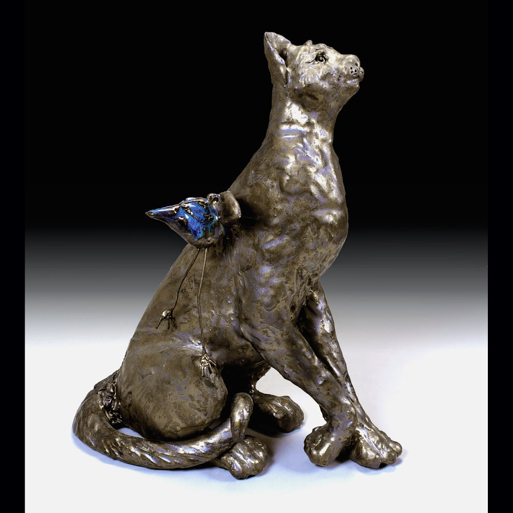 Image of Ceramic Cat Sculpture - Mo Bit and Bingo Bird