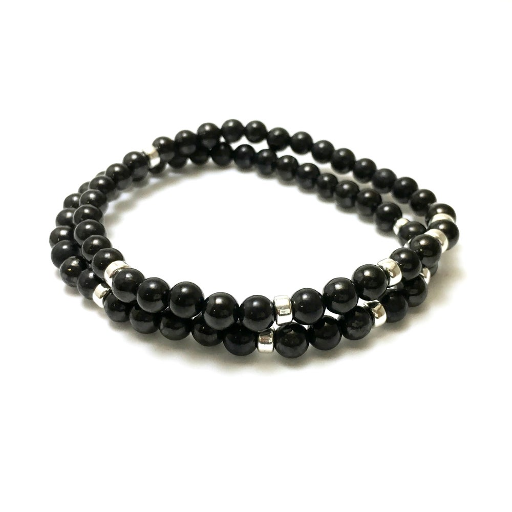 Image of Mens Shungite 6mm Infinity Bracelets