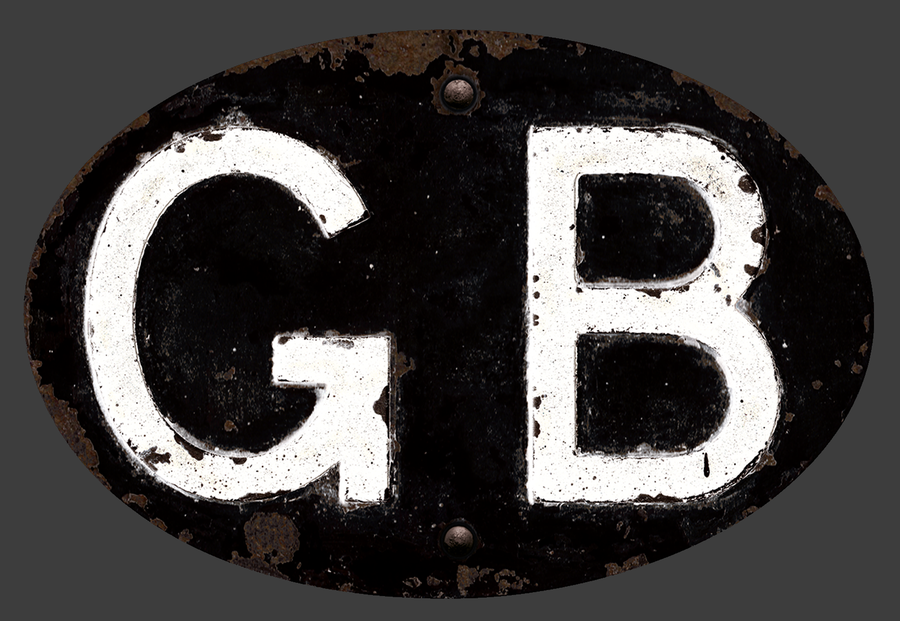 Image of Magnetic GB badge Black, Patina'd 180x120mm
