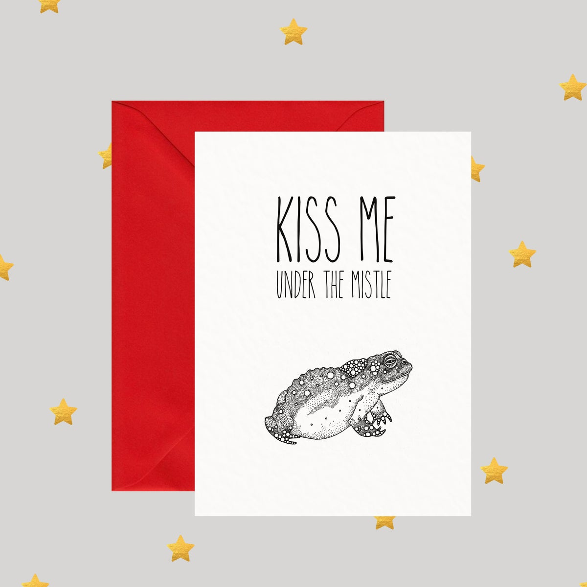 Image of Kiss Me Under The Mistle Toad - Christmas Card