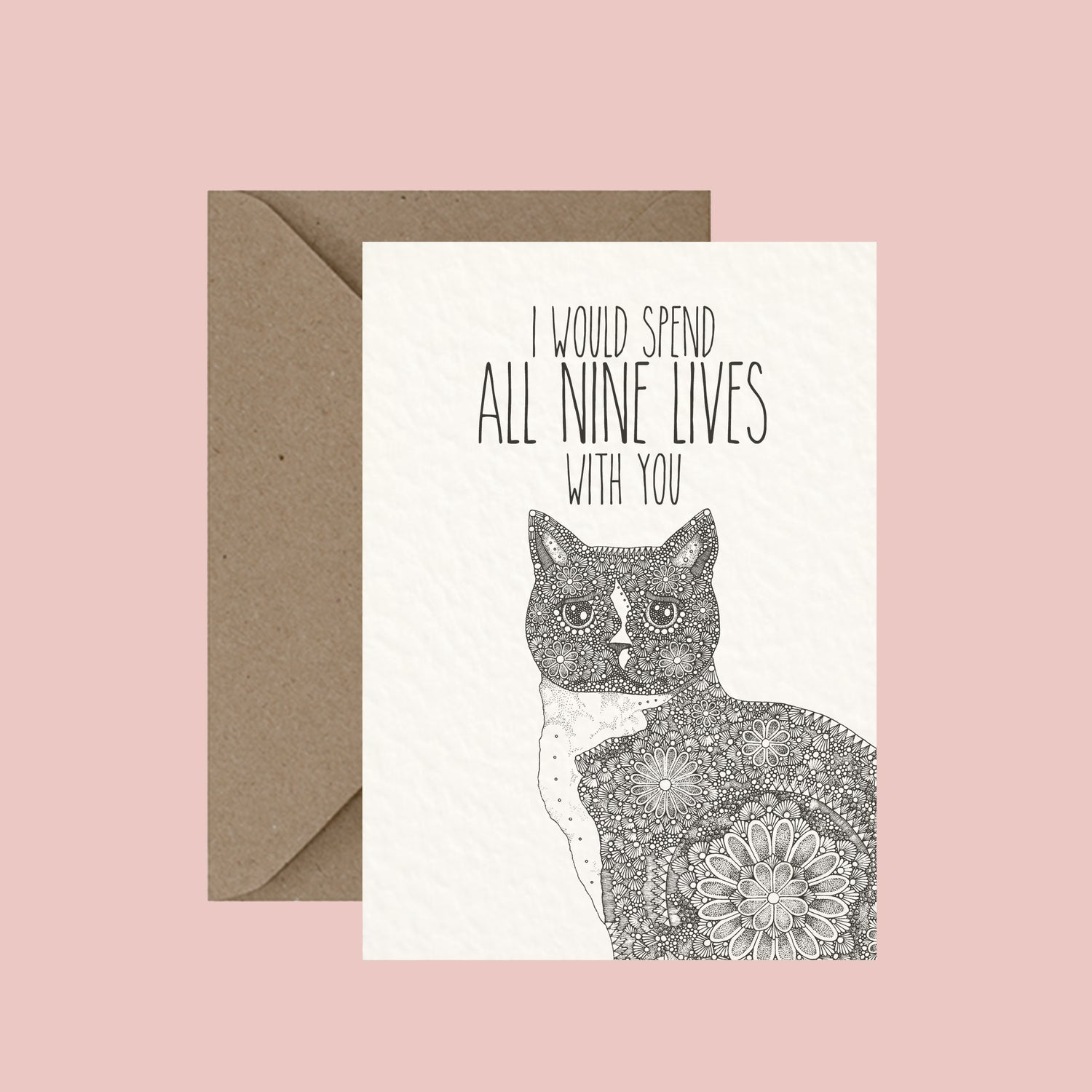 "Image of ""I would spend all nine lives with you"" greeting card"