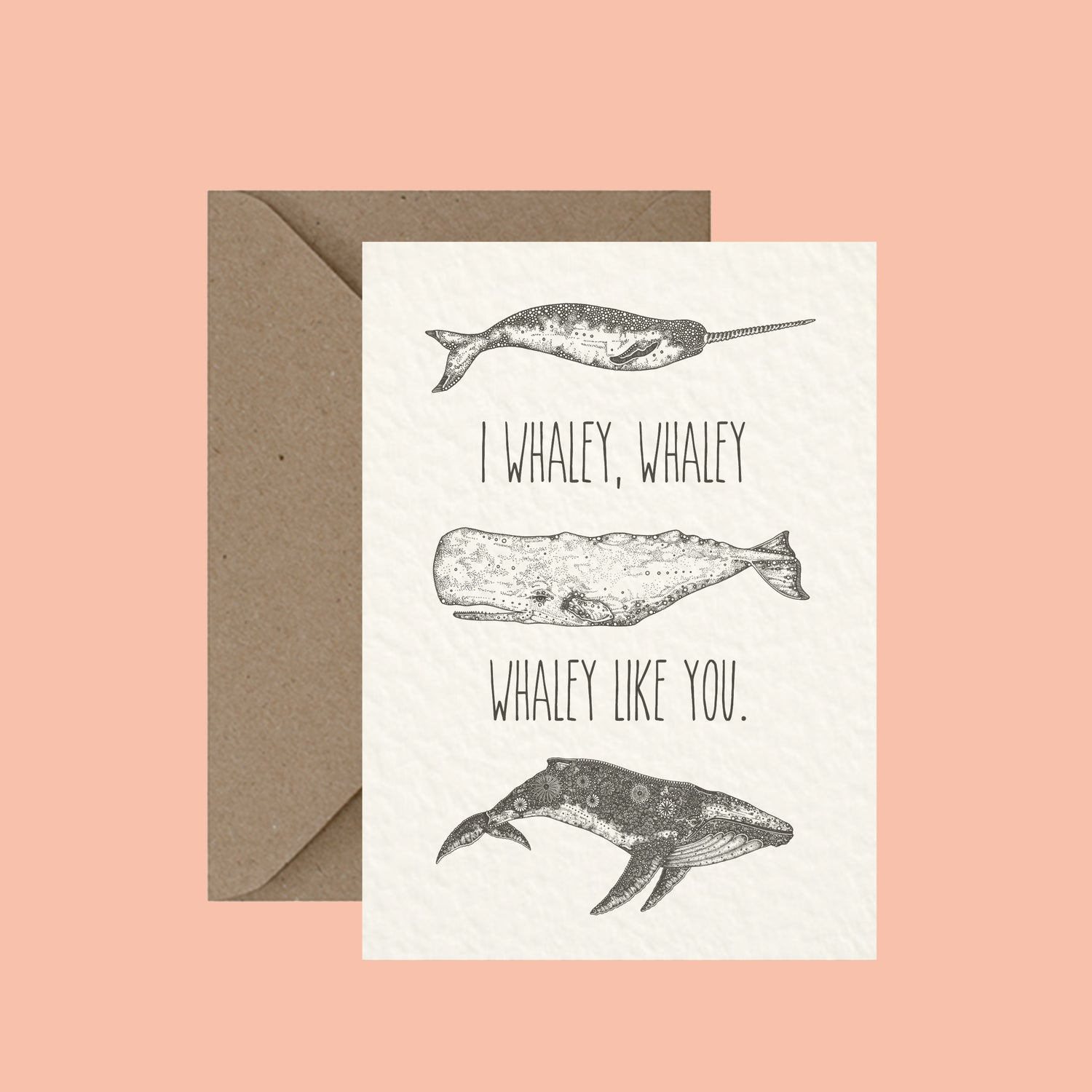 "Image of ""I whaley like you"" greeting card"