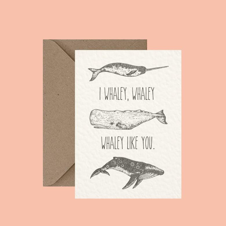 "Image of ""I whaley like you"" greeting card"