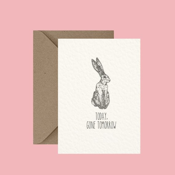 "Image of ""Hare today, gone tomorrow"" greeting card"