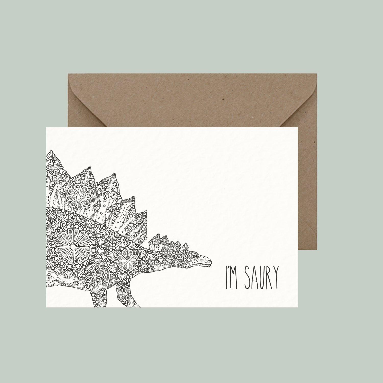 "Image of ""I'm saury"" greeting card"