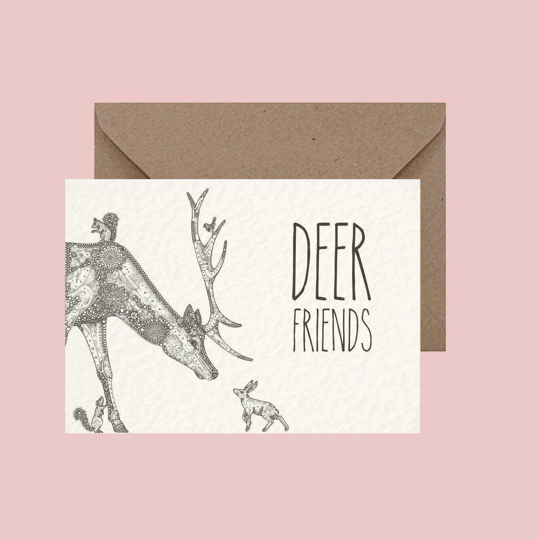 """Image of """"Deer friends"""" greeting card"""