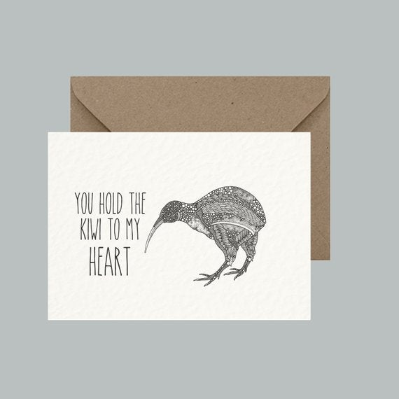 "Image of ""You hold the kiwi to my heart"" greeting card"