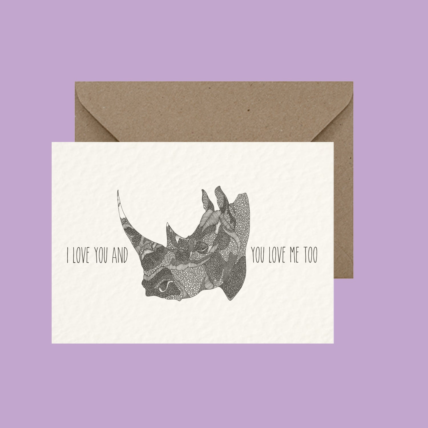 "Image of ""I love you and rhino you love me too"" greeting card"