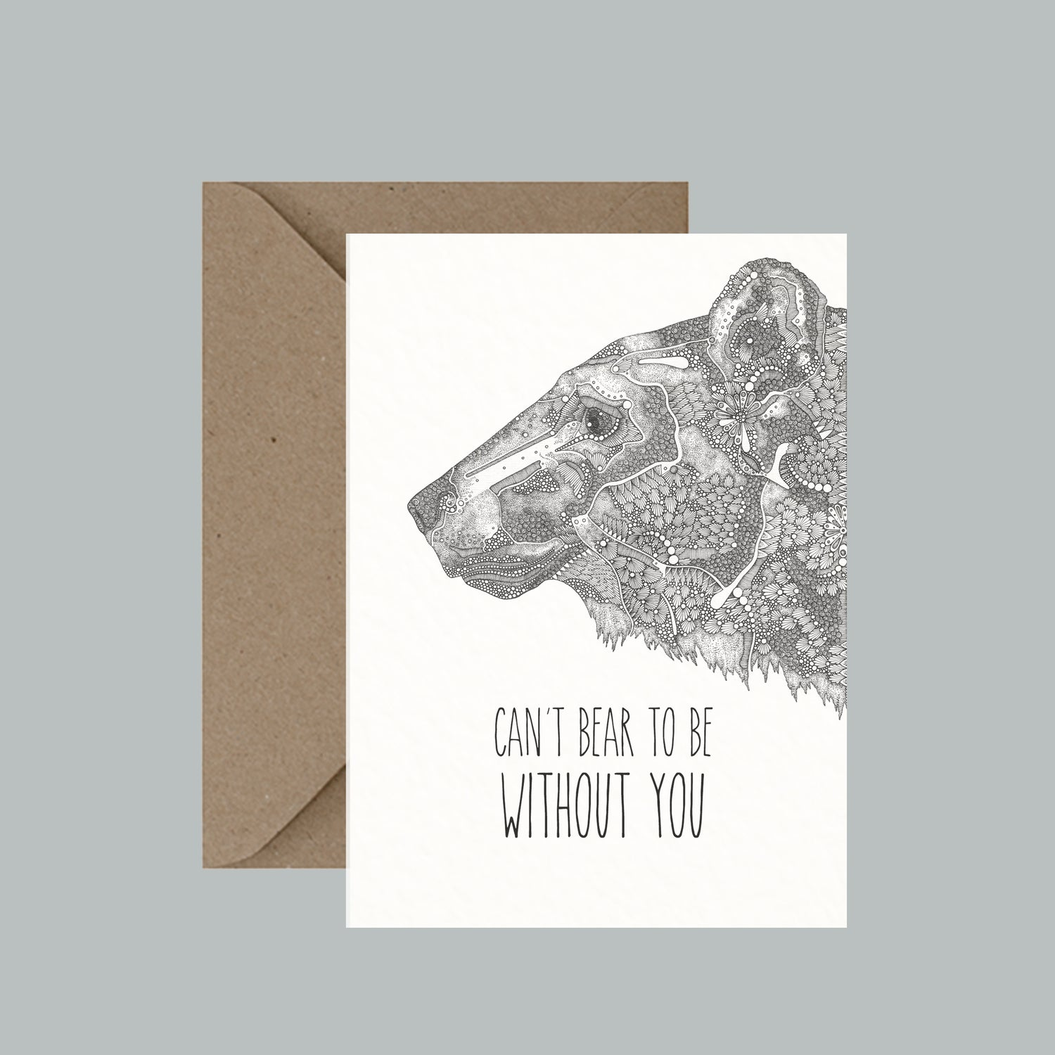 """Image of """"Can't bear to be without you"""" greeting card"""