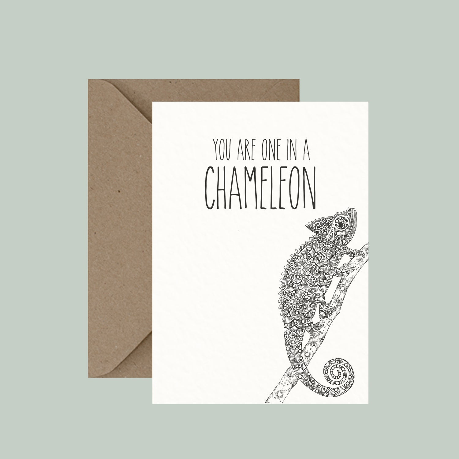 """Image of """"One in a chameleon"""" greeting card"""