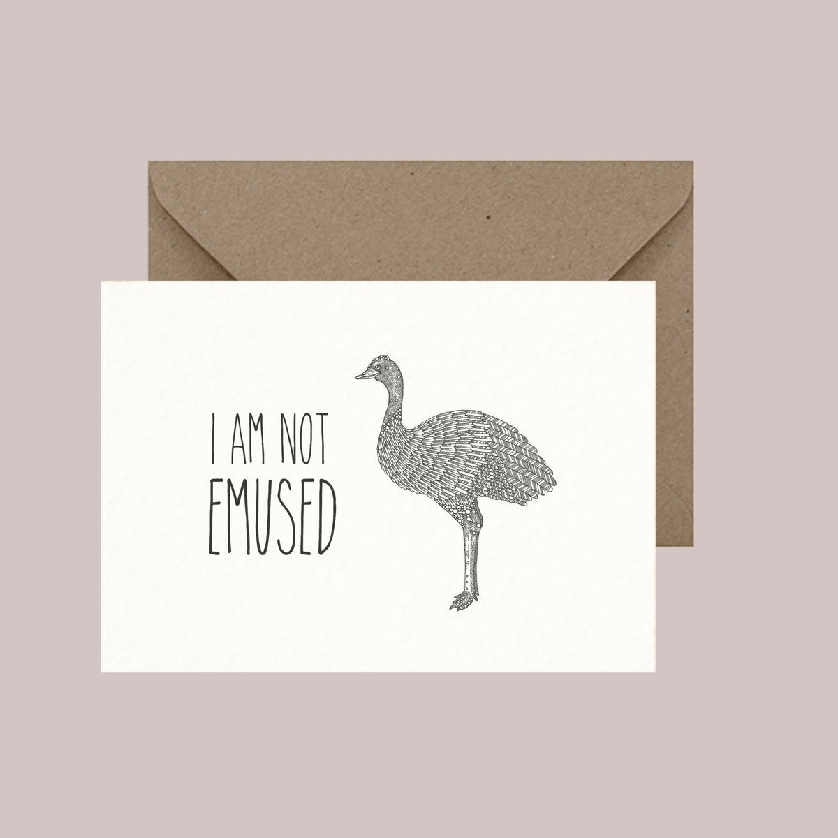 "Image of ""I am not emused"" greeting card"