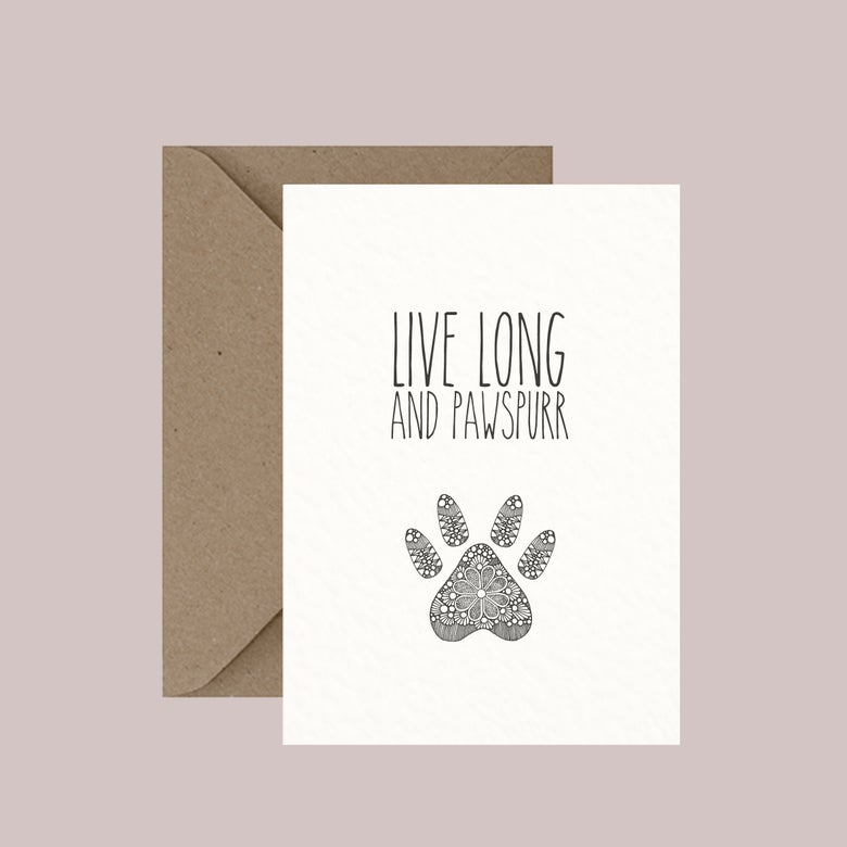 "Image of ""Live long and pawspurr"" greeting card"