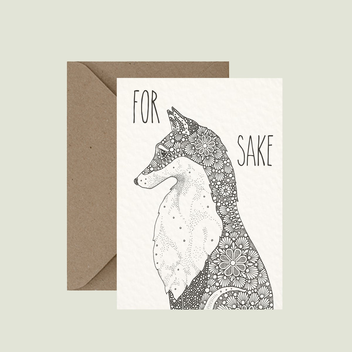 "Image of ""For fox sake"" greeting card"
