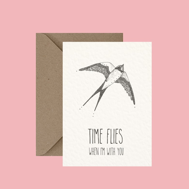 "Image of ""Time flies"" greeting card"