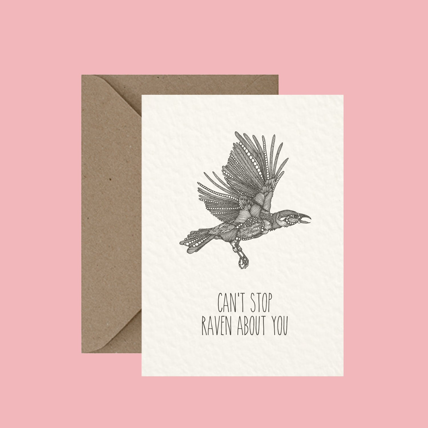 "Image of ""Can't stop raven about you"" greeting card"