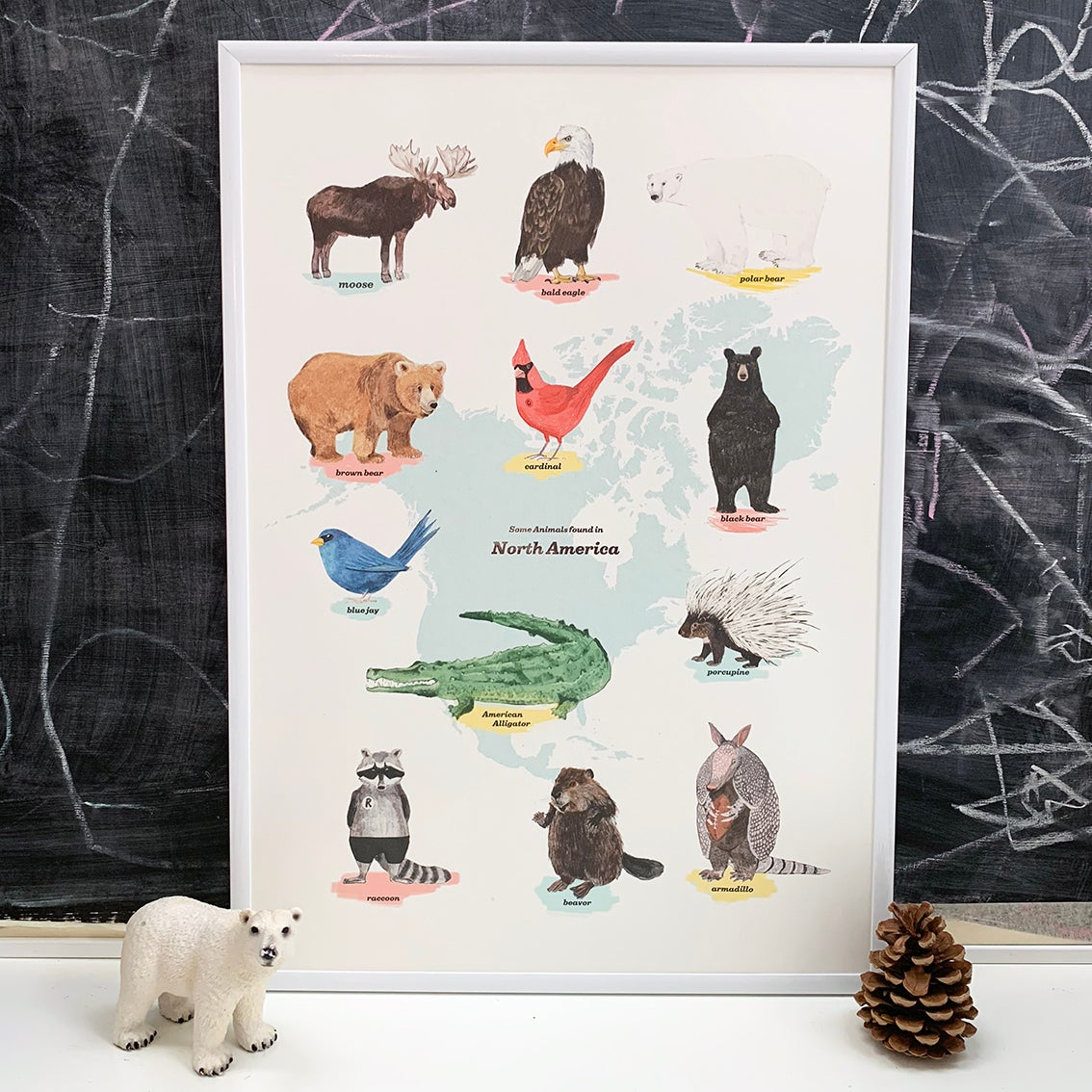 Image of North America Animals Print