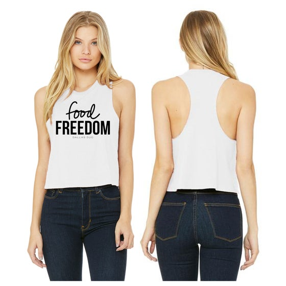Image of Women's White Crop Racerback Tank-6682