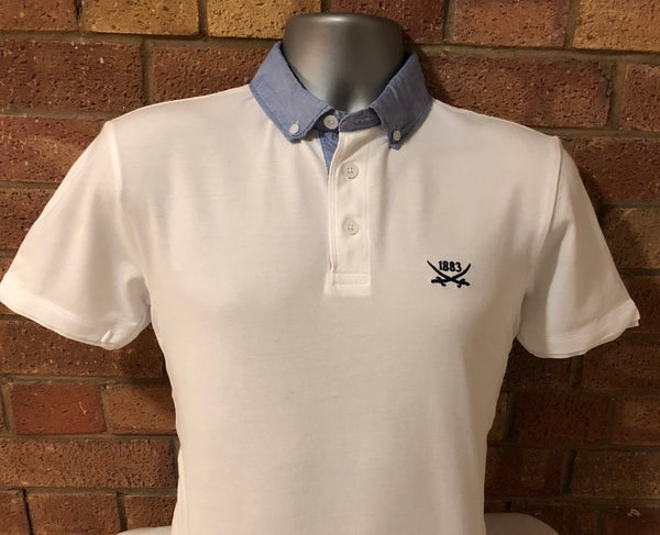Image of White Chambray Polo Shirt