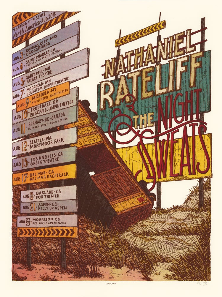 "Image of Nathaniel Rateliff & The Night Sweats (August 2018 Tour) • L.E. Official Poster (18"" x 24"")"