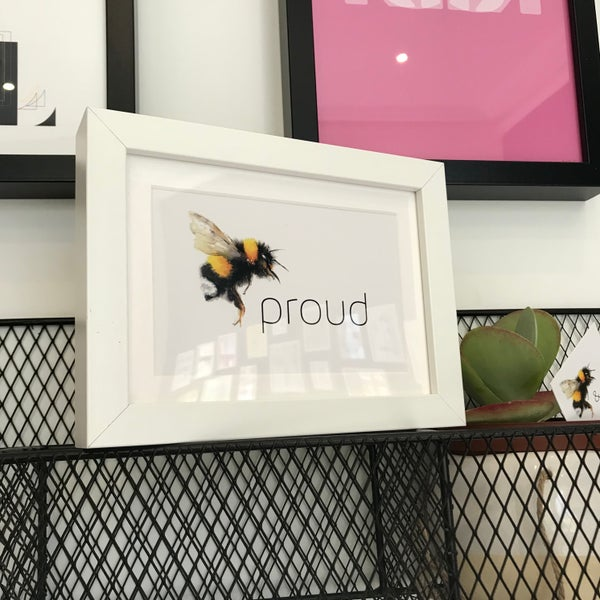 Image of Bee proud framed A6 postcard