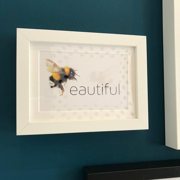 Image of Beeautiful framed A6 postcard