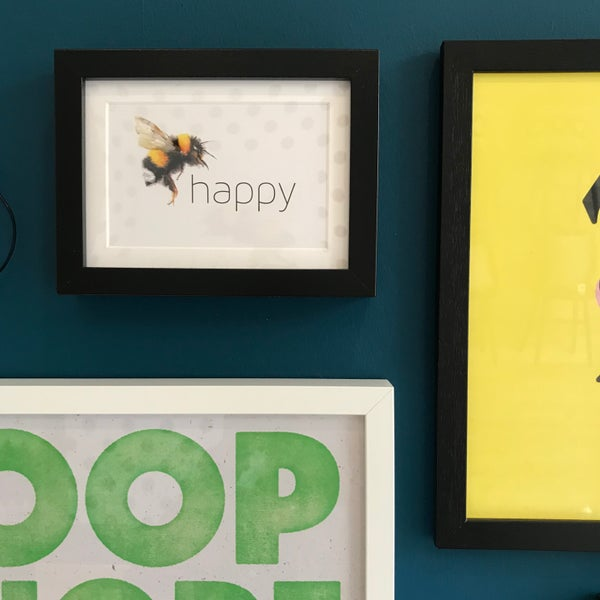 Image of Bee happy framed A6 postcard
