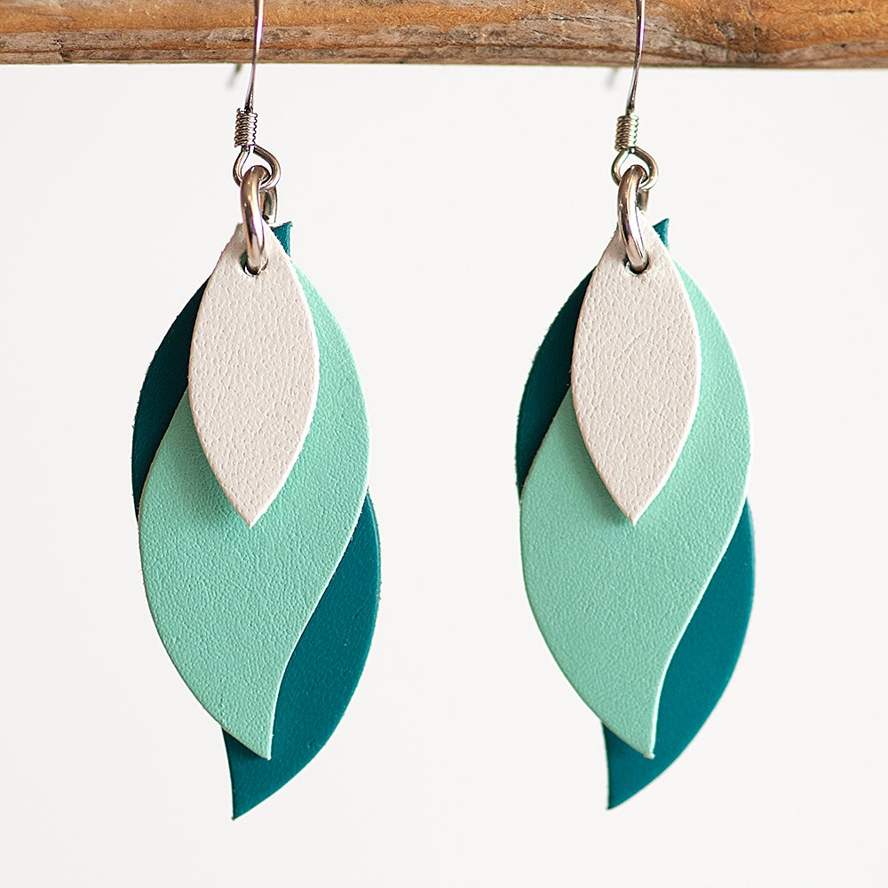 Image of Handmade kangaroo leather leaf earrings - white, mint, teal green [LTG-018]