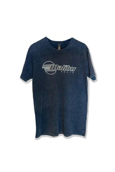 Image of Malibu Unisex Stone Wash T-Shirt - Blue