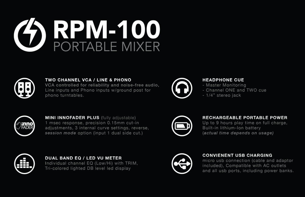 RPM-100 : PORTABLE MIXER , Back in stock ships now!