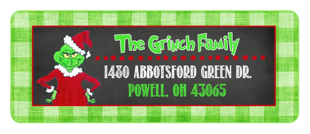 Image of Grinch Return Address Lables
