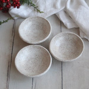 "Image of Set of Three Rustic Prep Bowls in Satin Matte White Glaze ""Discounted"" Made in USA ""Second"""