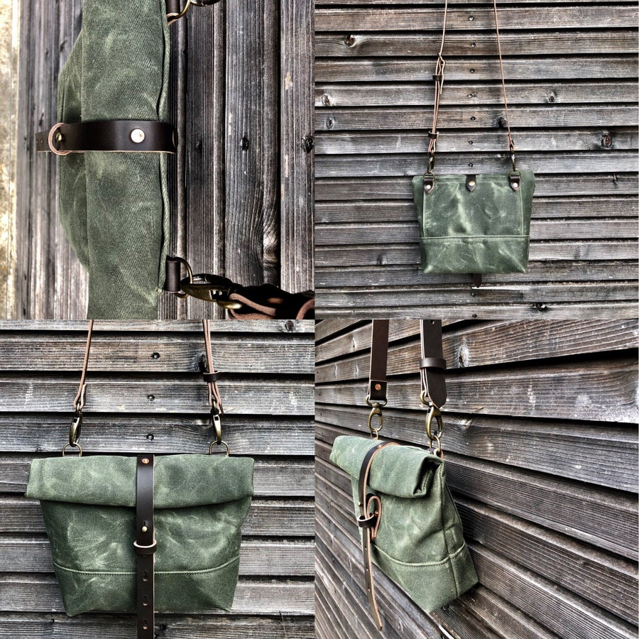 Image of Waxed canvas day bag / small messenger bag / canvas satchel