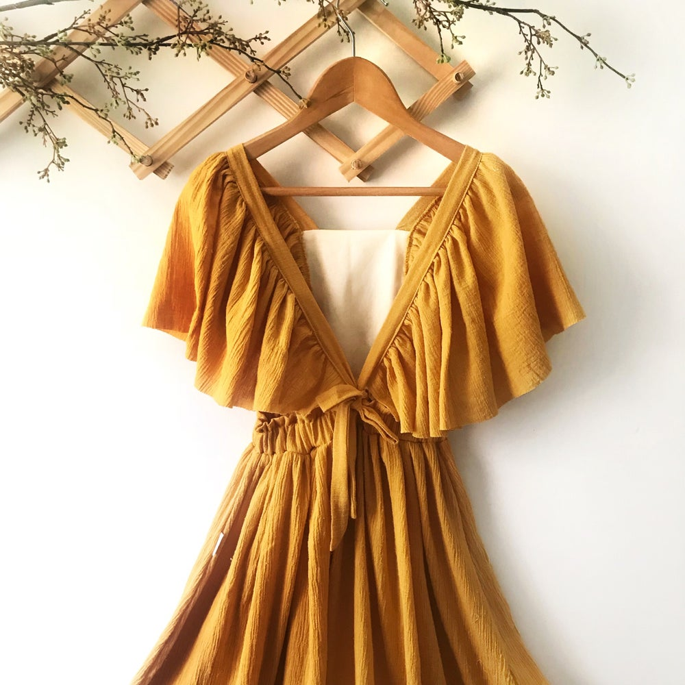 Image of 'Mae' fairy maxi dress in golden or mauve gauze