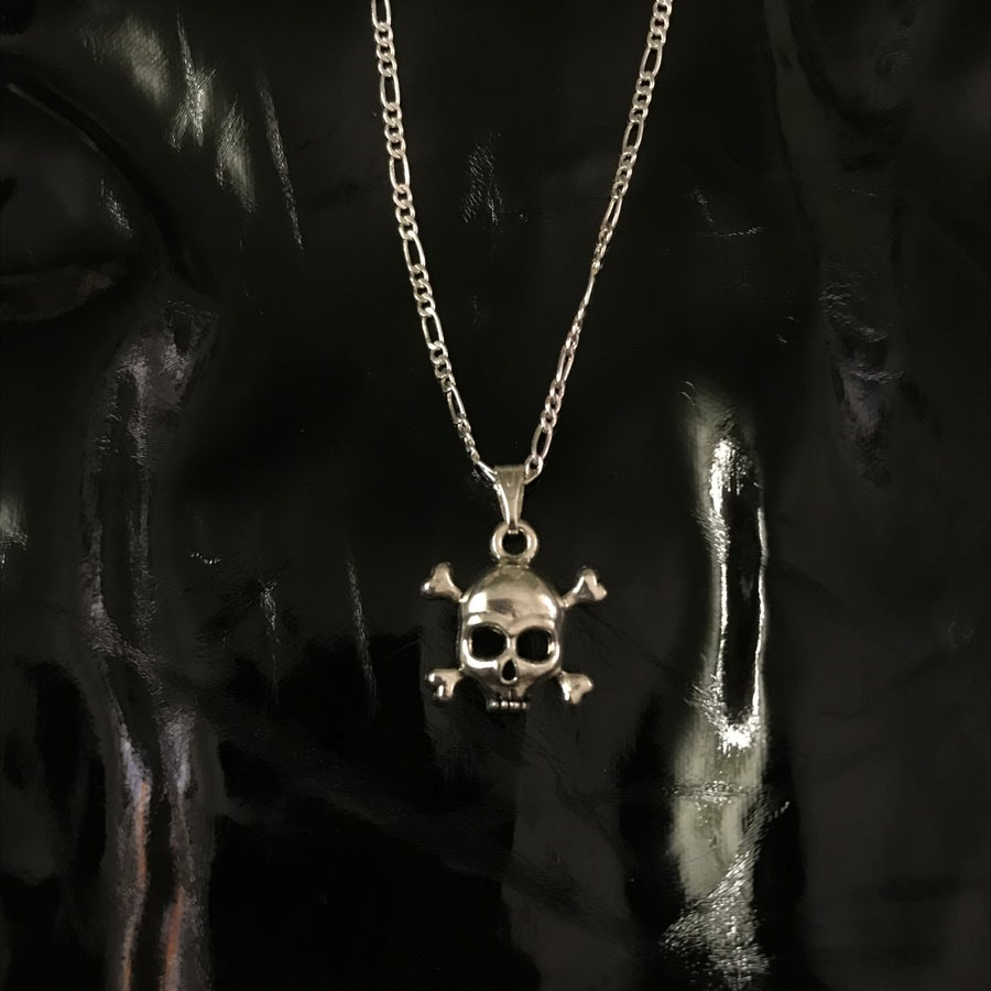 Image of skull pendant on classic 16 inch chain