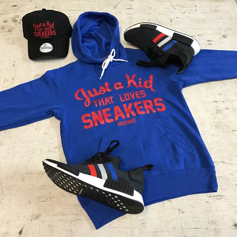 """Image of JUST A KID THAT LOVES SNEAKERS """"ROYAL BLUE/RED"""" T-SHIRT & HOODY (MENS)"""