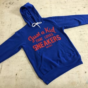 "Image of JUST A KID THAT LOVES SNEAKERS ""ROYAL BLUE/RED"" T-SHIRT & HOODY (MENS)"