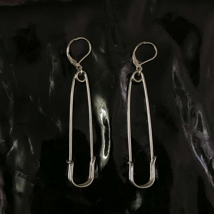 Image of safety pin earrings