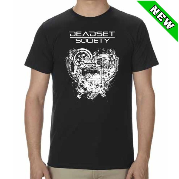 Image of <b>DEADSET SOCIETY </b><br>T-Shirt Black w/ White Logo<br>+ Automatic Heart<br>