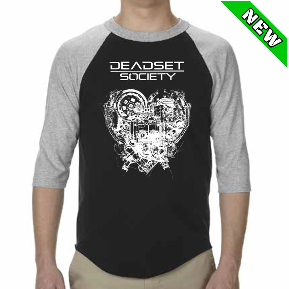 Image of <b>DEADSET SOCIETY </b><br>3/4 Sleeve Shirt - Black/Grey <br>w/ White Logo + Automatic Heart<br>