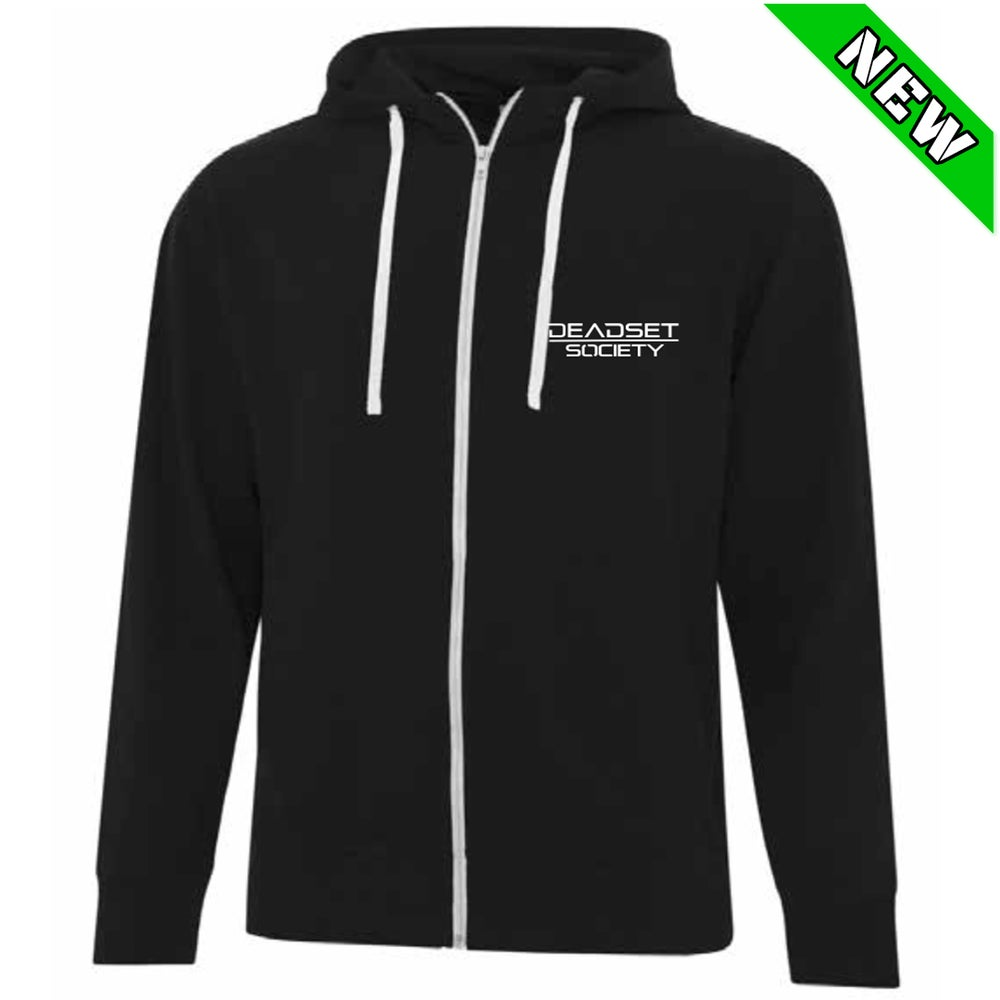 Image of <b>DEADSET SOCIETY </b><br>Zip Up Hoodie - Black<br>w/ White Logo + Automatic Heart<br>