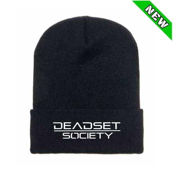 Image of <b>DEADSET SOCIETY </b><br>Flip Toque / Beanie - Black  w/ White Logo<br>